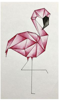 Geometric flamingo watercolor Geometric flamingo watercolor The post Geometric flamingo watercolor & Aquarell appeared first on Geometric paint . Cool Art Drawings, Pencil Art Drawings, Art Drawings Sketches, Easy Drawings, How To Draw Flamingo, Flamingo Art, Flamingo Drawings, Flamingo Tattoo, Geometric Drawing
