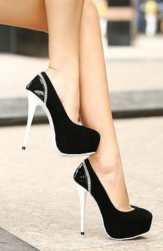 black and white high heels