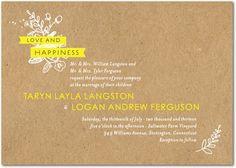 Kraft Cute - Signature White Wedding Invitations - Petite Alma - Sunny Yellow - Yellow : Front