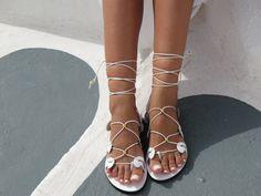 White Leather Gladiator Sandals Summer by GreekChicHandmades