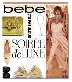 """""""Soirée de Luxe with bebe Holiday: Contest Entry"""" by soks ❤ liked on Polyvore featuring Bebe, Manolo Blahnik, Giorgio Armani and polyvoreeditorial"""