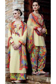 Ravishing Cream Cotton Embroidered Patiala Salwar Kameez