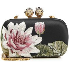 Alexander McQueen Embroidered Silk Box Clutch (75,610 THB) via Polyvore featuring bags, handbags, clutches, multicolored, floral purse, skull box clutch, embroidery handbags, skull purse и hardcase clutch