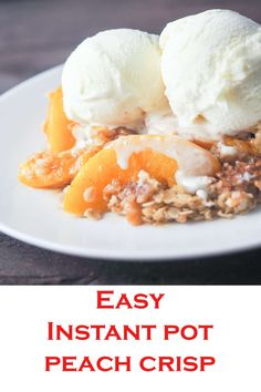 Instant Pot Spiced Peach Crisp Delicious spiced peaches with a crispy topping is a perfect summertime dessert. Baked in the Instant Pot then finished in the broiler this quick dessert will be a homerun that won't have you in the kitchen all day! Spiced Peaches, Canned Peaches, Quick Dessert, Dessert Recipes, Fruit Dessert, Fruit Recipes, Healthy Desserts, Salad Recipes, Recipies