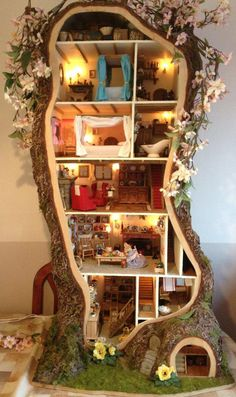 mouse house in a tree and under the stairs!