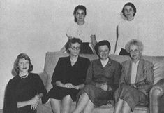 Smith College Honor Board, Hamper, 1953. Seated (l. to r.): SP, Dr. Marion Frances Booth, Helen Whitcomb Randall, and Alison L. Cook. Standing (l. to r.): Maria Canellakis and Holly Stair