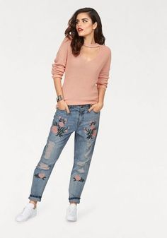 Only Boyfriend-Jeans »TONNI«, mit Stickerei und Destroyed Effekten  Stilsicher, Stickerei de0e7815cf