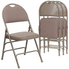 Flash Furniture Hercules Series Extra Large Ultra-Premium Triple Braced Fabric Metal Folding Chair with Easy-Carry Handle, Multiple Colors, Beige Plastic Folding Chairs, Chair Price, Chair Backs, Metal Chairs, Side Chairs, Dining Chairs, Furniture For Small Spaces, Outdoor Chairs