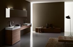 Furniture and counter tops made of real wood veneer, hazelnut / Washstands WT.RE800H / Mirror SP.1 with lights LE.3