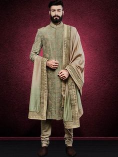 Hand Embroidered Silk & Line Fern Green Colored Sherwani