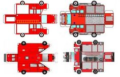 Four Easy-To-Build Fire Brigade Trucks Paper Models - by Kids World == In this German educational website you will find four easy-to-build Fire Brigade Trucks, that are perfect for little kids.