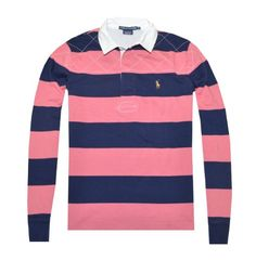 Ralph Lauren Sport Women Striped Long Sleeve Pony Logo Rugby Polo T-shirt