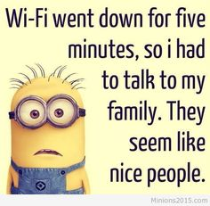 Best Funny Minion Quotes Wi-fi went down funny Minion quoteWi-fi went down funny Minion quote Funny Minion Pictures, Funny Minion Memes, Funny Jokes To Tell, Cartoon Jokes, Minions Quotes, Funny Photos, Hilarious, Funny True Quotes, Funny Quotes For Teens