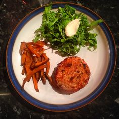 Turkey and beetroot burger with sweet potato fries