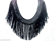 Black Silky Crochet Necklace Collar with Tassels Fringes for Tops, Blouses