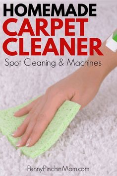 Get an easy recipe to make homemade carpet cleaner for your machine or to spot clean. Clean your carpets with this easy homemade cleaner.