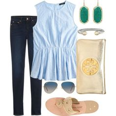 lucky green by pretty-and-preppy on Polyvore featuring J.Crew, Jack Rogers, Tory Burch, Kendra Scott, David Yurman and Ray-Ban