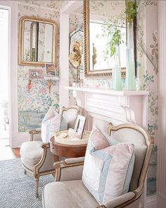 Love this chic feminine living room color palette. Home Living Room, Living Room Designs, Living Room Decor, Bedroom Decor, Living Spaces, Bedroom Sets, Living Room Inspiration, Home Decor Inspiration, Estilo Shabby Chic