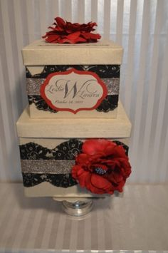 """Wedding Card box-The """"Leslie""""- Ivory silk two tier card box with black lace, champagne sparkle ribbon and red roses. $99.00, via Etsy."""