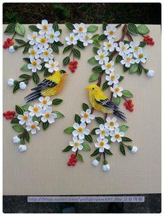 고급 6강인 새는 우연히 보게되었던 노랑새가 너무 예뻐 노랑새로 표현해서 만들어 봤습니다~^^ (... Paper Quilling Cards, Paper Quilling Flowers, Paper Quilling Tutorial, Paper Quilling Patterns, Quilled Paper Art, Quilling Paper Craft, Paper Crafts Origami, Paper Flowers Diy, Flower Crafts