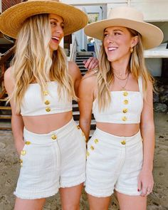 Matchy sets for the win Summer Looks, Panama Hat, White Shorts, Women, Style, Fashion, Swag, Moda, Summer Fashions