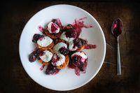 Grilled apricots w/ berry mash and greek yogurt