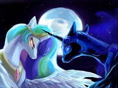 🌑☀️Princess Celstia & Nightmaremoon☀️🌑 x #moon #nightmaremoon #blue #alicorn #celestia #sun #equestria
