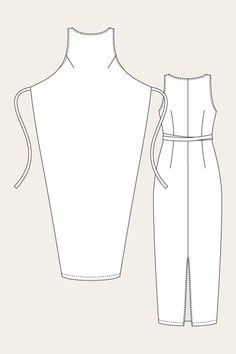 Named Clothing 07-035 Kielo Wrap Dress Downloadable Pattern Line Drawing