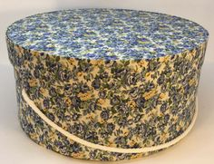 Large Hat Box in Blue & Yellow Floral Ready by TheTeaberryCottage