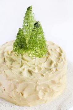 Coconut Cake with Whipped Lemon Cream Cheese Icing & Spun Sugar Christmas Trees