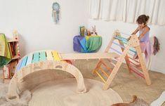Climbing Furniture Set / Rainbow Rocker and Pikler Triangle
