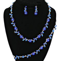 Royal Cobalt Blue Crystal Rhinestone Formal Wedding Bridal Prom Party Pageant Bridesmaid Evening Flower Floral Leaf Necklace Earrings Bracelet Set Elegant Costume Jewelry
