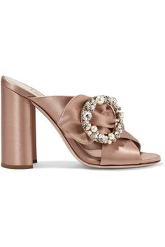 Heel measures approximately 105mm/ 4 inches Blush satin  Slip on Made in Italy