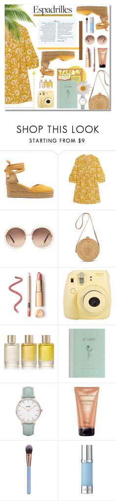"""""""Yellow fever"""" by soivana ❤ liked on Polyvore featuring Castañer, Madewell, Chloé, Fuji, Aromatherapy Associates, CLUSE, Christian Dior, Luxie, La Prairie and yellow"""