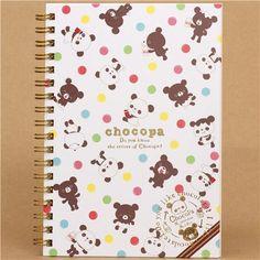 Chocopa ring binder notebook with panda bears from San-X