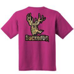 SHORT SLEEVE PINK WITH BLACK-CAMO LOGO  Please visit BuckedUpApparel.com  #buckedup #hunting #deer  #country #monsterjam #countrygirl #countryboy #countrymusic #redneckgirl #outdoorsy #bonefire #trucks #deerseason #bowhunting #outdoors #shedhunting #antlerswithattitude #mudding #getbuckedup #pink #girlshunttoo #hunter #huntress #lovecamo #camogirl #camouflage #camo #horse