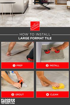 From start to finish, see how to install large format tile yourself! Large Format Tile, Wood Stone, Tile Installation, Floor Decor, Diy Projects, Cleaning, Flooring, Tips, Products
