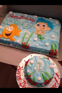 Cooper's birthday cakes bubble guppies first birthday party Twin Birthday, First Birthday Cakes, 3rd Birthday Parties, 4th Birthday, Birthday Ideas, 1st Bday Cake, Bubble Guppies Birthday, First Birthdays, Deserts