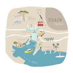"""22 mentions J'aime, 5 commentaires - Isabelle Gaborieau (@isabellegaborieau) sur Instagram: """"Toulon ⚓️ #illustration #cityguide #map #toulon #frenchriviera"""""""