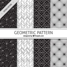 Black and white geometric patterns   Free Vector