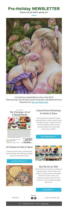 Lisa Zadravec awarded Best Loudoun Artist Elisia dancing in the Kennedy Center's Nutcracker with Ballet West from December Get your tickets now! Colored Pencils, Workshop, My Arts, Teen, Dance, Check, Holiday, Artist, Kids
