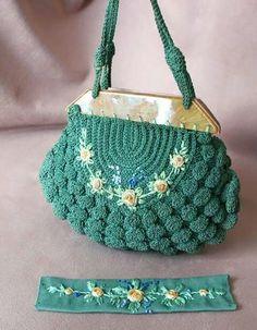 Cool crochet purse. Green crochet bag with flowers Handmade Handbags & Accessories - http://amzn.to/2iLR27v