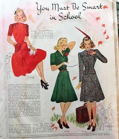 1930s and 1940s fall vintage magazine fashions from Va-Voom Vintage