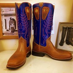 Cowboy Special made with Blue Stock tops and Football Vamps. #beckcowboyboots #beckboots #customboots #boots #cowboyboots #handmadecowboyboots #madeintexas