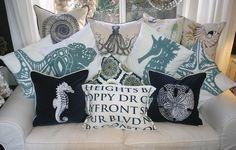 beachy pillows at MerMade Designs