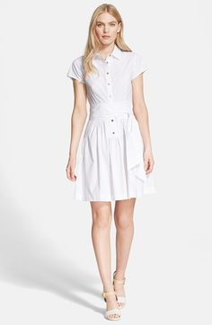 Free shipping and returns on Diane von Furstenberg 'Scarlet' Cotton Blend Shirtdress at Nordstrom.com. A wide self-sash flatters the figure on an easy drop-waist shirtdress cut from smooth woven cotton-blend for breezy sunny-day comfort.