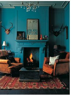 aquamarine painted fireplace