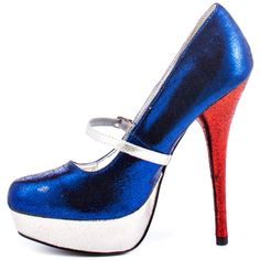 RuPaul Shoe Collection | Heels.com / All Shoes / Rupaul / Patriotic Pump - Red Blue Silver