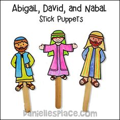 Abigail, David, and Nabal Stick Puppets