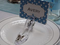 Cinderella Birthday Party---Glass Slipper Place Cards
